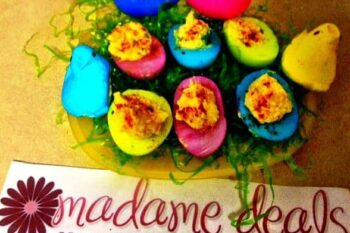 colorful easter deviled eggs