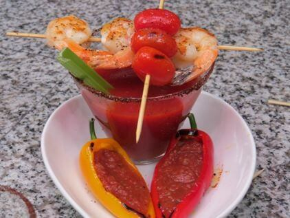 Try this delicious Tomato Bloody Mary with Shrimp Recipe