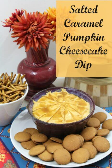Our Salted Caramel Pumpkin Cheesecake DIp Recipe is so much more that your typical boring pumpkin dip. Topped with caramel swirls and pretzel salt, this pumpkin dip will be the star of any fall potluck.