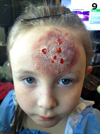 The zombie makeup for kids is more believable with blood like colors and texture in the wound.