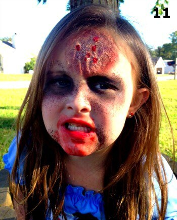 The Halloween zombie makeup for kids is done and it's amazing! Time to scare!