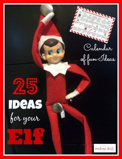Free printable elf on the shelf calendar of ideas