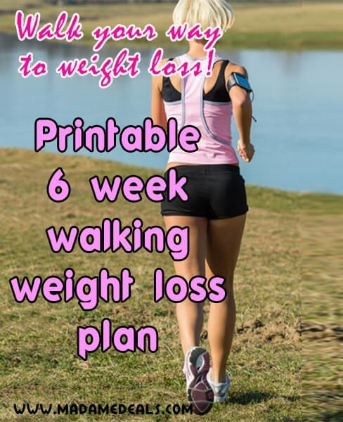 Walk more to lose weight. Track your progress with this free printable 6 week walking plan