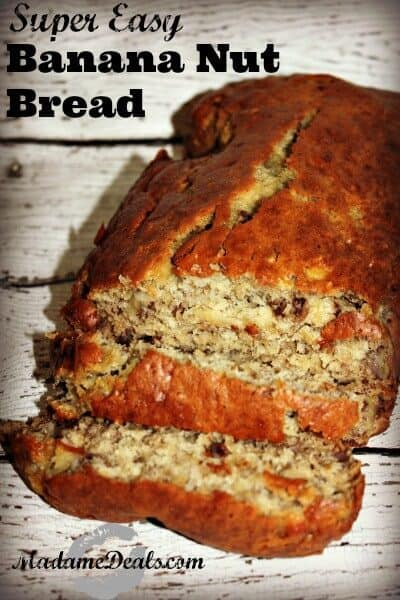 A super easy to make banana nut bread recipe that everyone loves. It's moist and not dry. This banana bread recipe can be made without nuts for people with allergy.