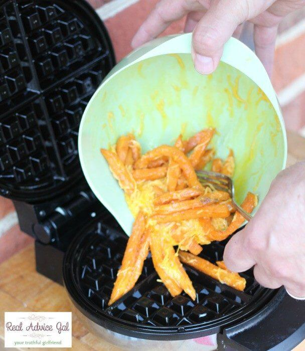 How to make waffles with sweet potato fries pour the mixture onto the hot waffle iron
