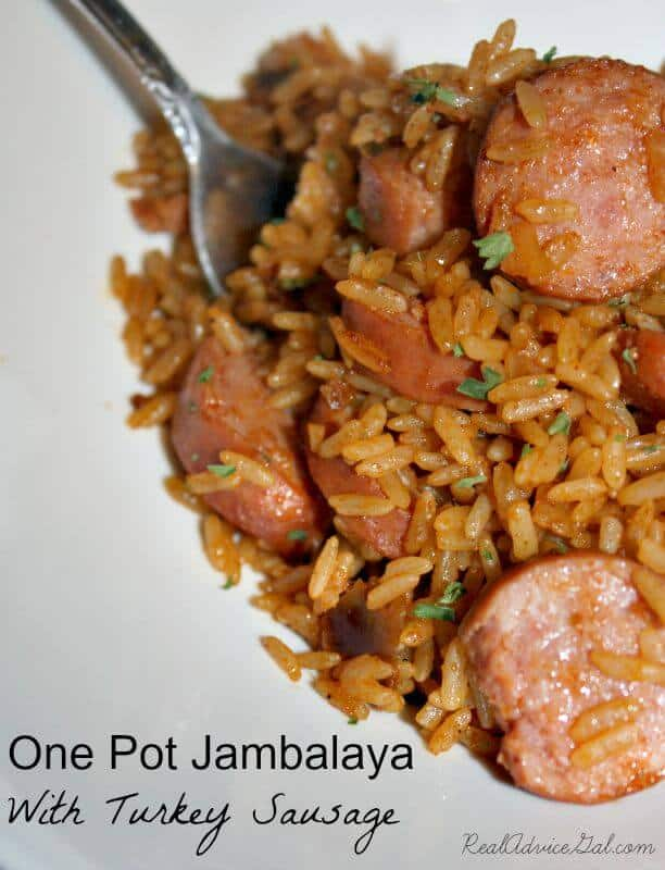 One Pot Jambalaya With Turkey Sausage Recipe. Delicious and flavorful with creole seasoning, paprika, chicken broth, crushed tomatoes and more.