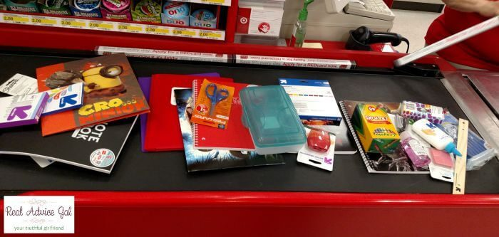 Giving Back Packs all the school suppplies at the store