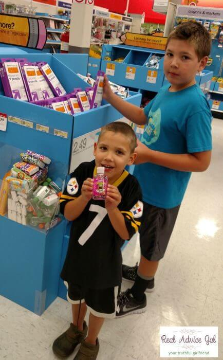Giving Back Packs my children shopping for school suppplies