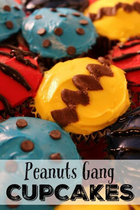 Peanuts Gang Cupcakes featuring Charlie Brown, Sally, Linus , and Schroeder