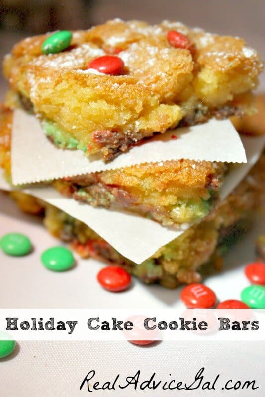 holiday cake cookie bars
