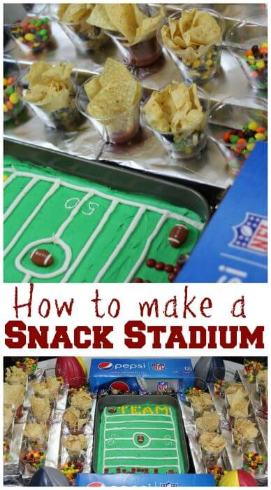 How to make a snack stadum with portable snacks for the big game