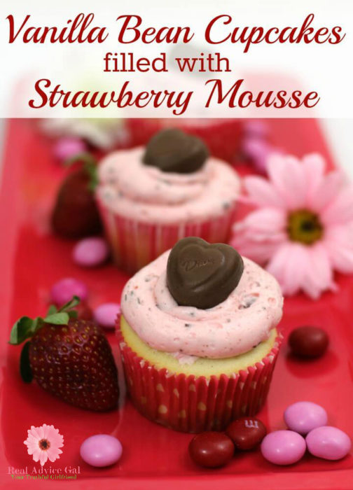 Madagascar Vanilla Bean Cupcakes filled with Strawberry Mousse