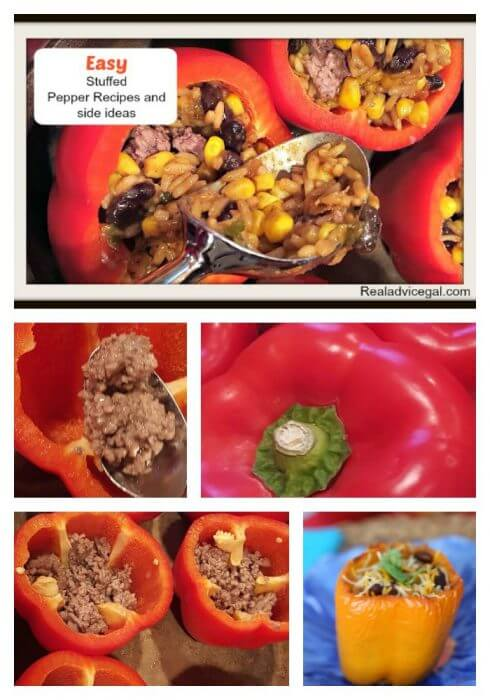 Easy stuffed peppers recipe with a list of great food to serve with it.