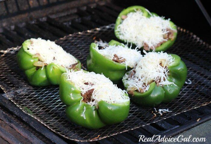 Philly Cheesesteak stuffed peppers recipe ingredients, on the grill