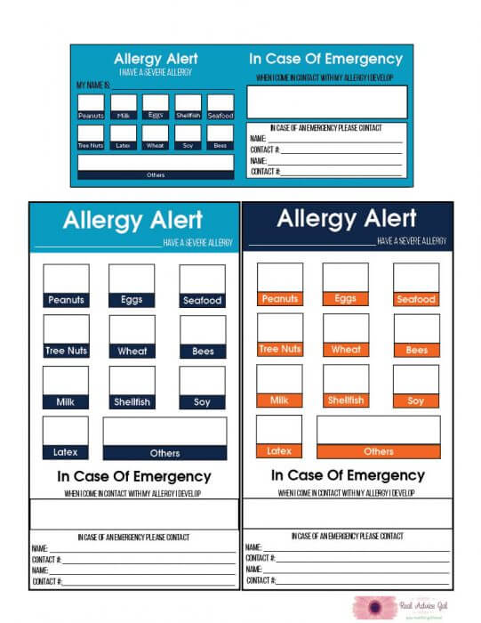 Back to School Allergy Cards