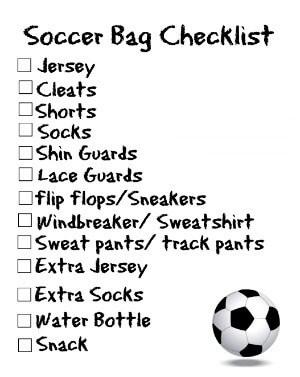 Free Printable Soccer Bag Checklist