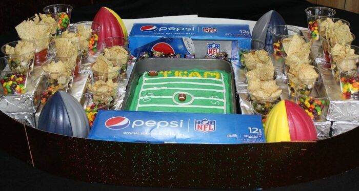 A snack stadium with portable snacks is perfect for the big game