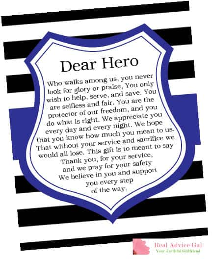 Dear Hero Printable for blessing bags for police officers.