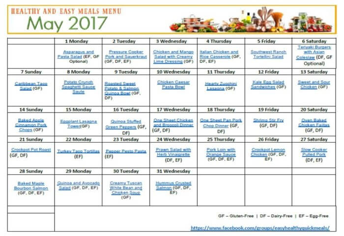 May 2017 Easy Healthy Quick Meals Free Printable Menu Calendar