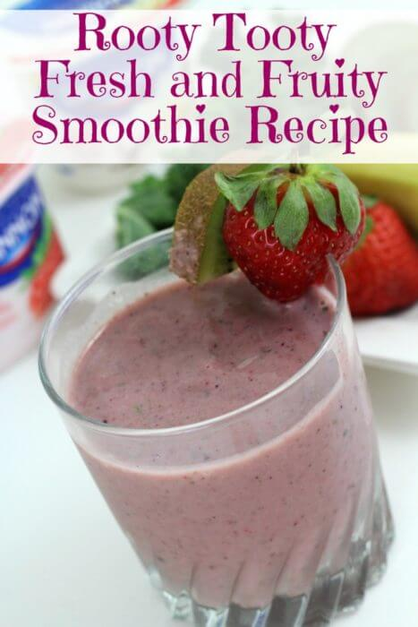 Our Rooty Tooty Fresh and Fruity Smoothie Recipe is a breakfast that the whole family will love. The fruit flavors mask a hidden serving of superfood kale.