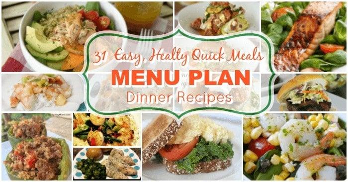 Easy Healthy Quick Meals Free Printable Menu Calendar