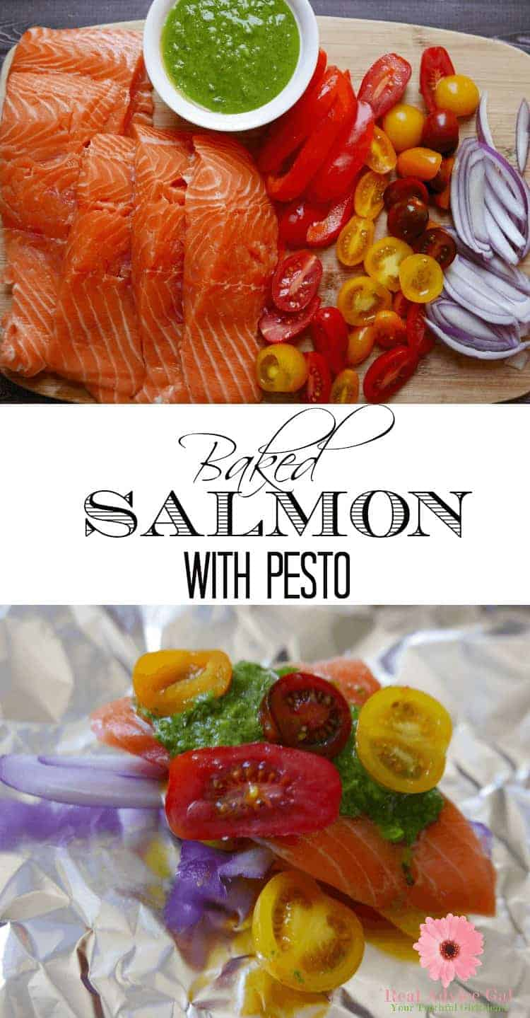 Oven Baked Salmon in Foil with Pesto Recipe