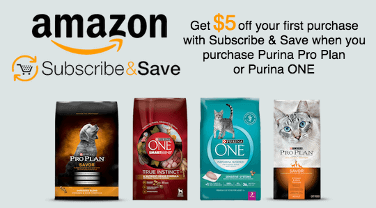 Save money on your Purina dog or cat food by subscribing to Amazon Subscribe & Save