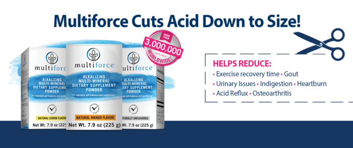 Cut down acid in your body with Multiforce multi-mineral powdered supplement. Get your FREE 14-day sample now!