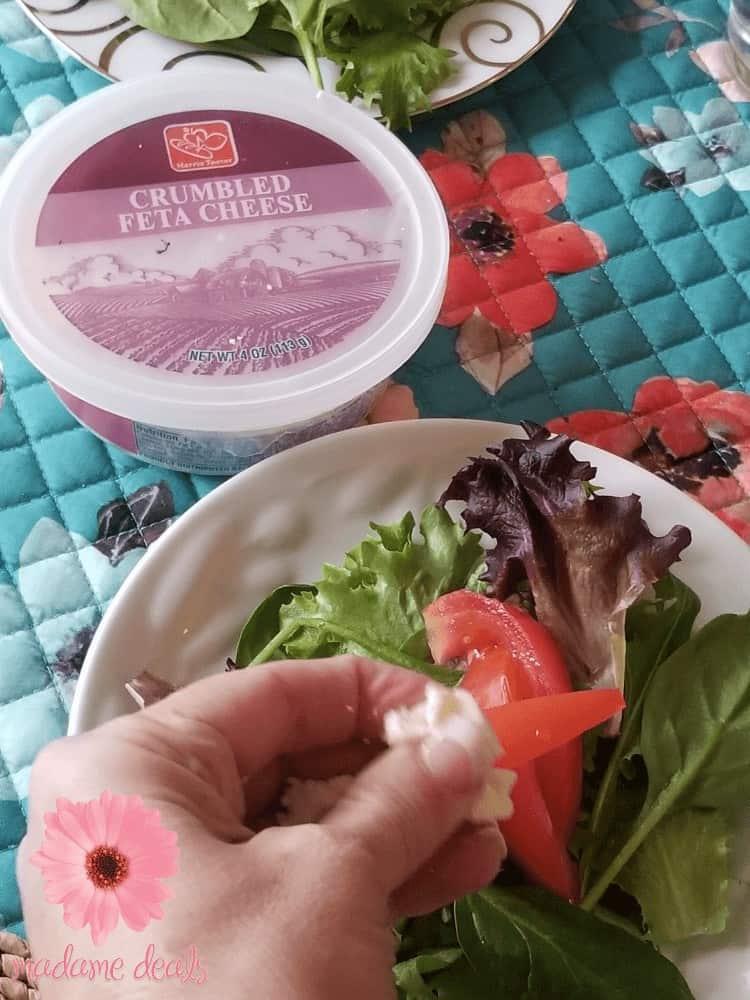 Easy organic salad with feta cheese