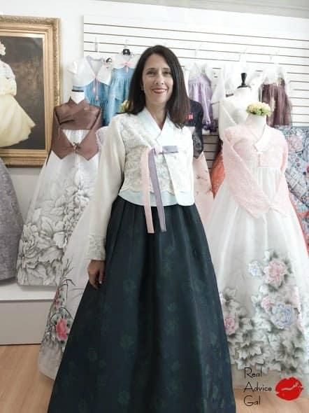 Amee wearing Korean hanbok