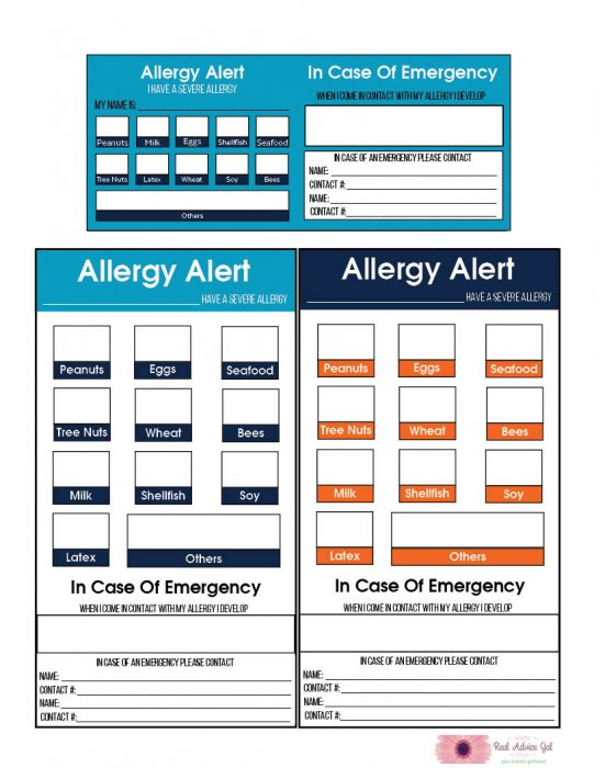 Free Printable Allergy Alert Cards